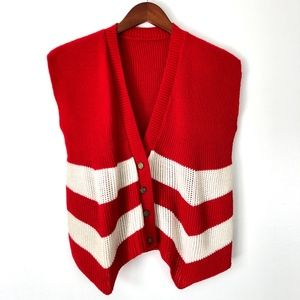 Vintage | Chunky Knit button Down Vest Red White